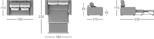 Габаритные размеры прямого дивана MOON 082