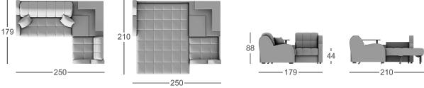 Габаритные размеры углового дивана MOON 022