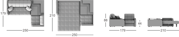 Габаритные размеры углового дивана MOON 044