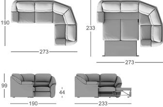 Габаритные размеры углового дивана MOON 017
