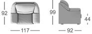 Габаритные размеры кресла MOON 017