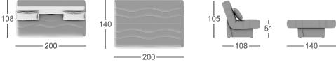 Габаритные размеры прямого дивана MOON 037