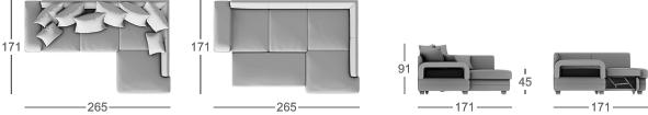 Габаритные размеры углового дивана MOON 030