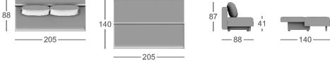 Габаритные размеры прямого дивана MOON 049