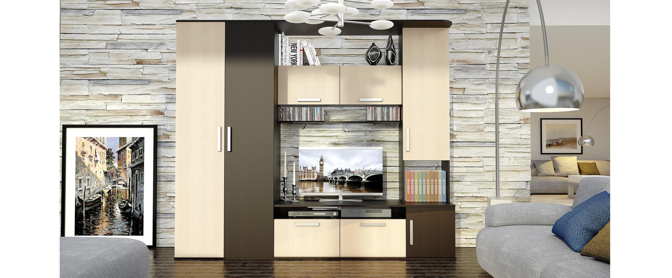 Стенка Алегро Модель 294Функциональный платяной шкаф, открытые полки для книг и сувениров, закрытые шкафчики разных форм и тумба размером 110х70 см для телевизора.<br>