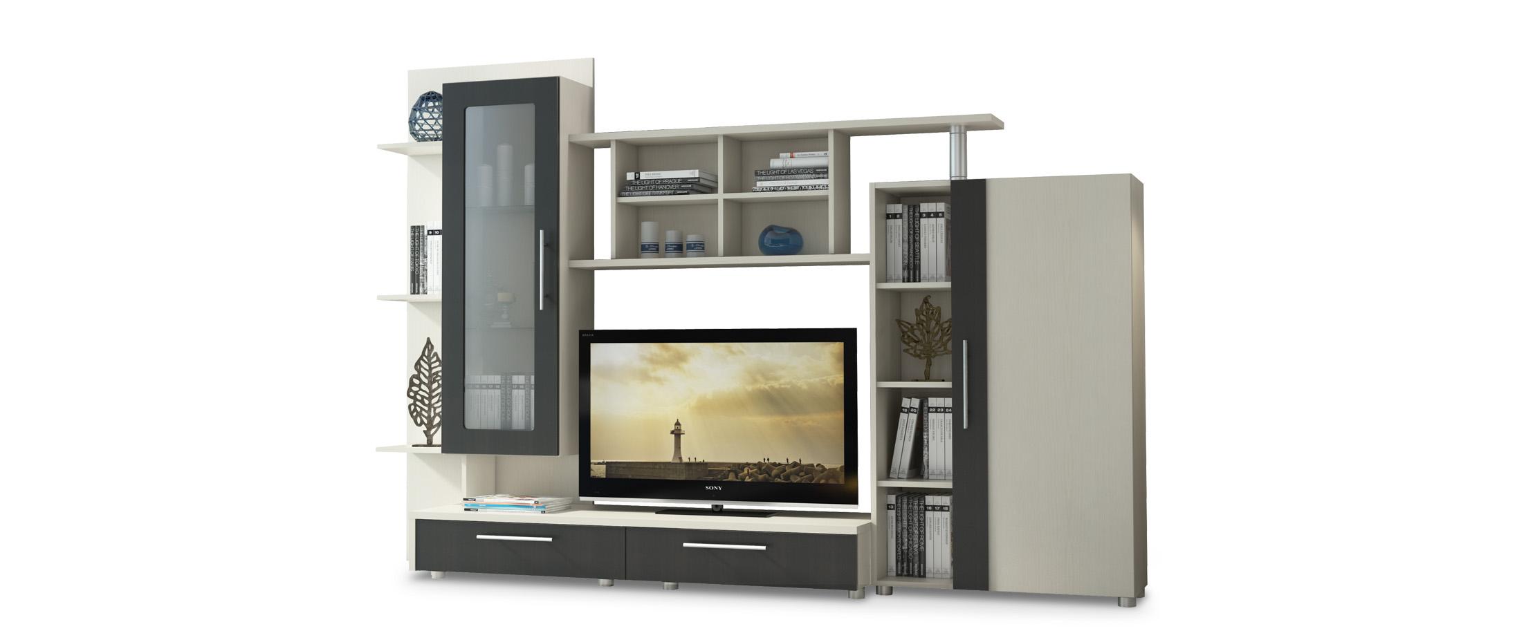 Стенка Франк Модель 294Большое количество открытых полок позволит разместить все любимые предметы интерьера и декора. Компактная за счёт витринного модуля с прозрачным стеклом.<br><br>Ширина см: 245<br>Глубина см: 48<br>Высота см: 168<br>Высота тумбы под телевизор см: 75<br>Ширина тумбы под телевизор см: 100<br>Материал фасада: ЛДСП<br>Цвет корпуса: Дуб кремона<br>Цвет фасада: Дуб феррара<br>Материал корпуса: ЛДСП