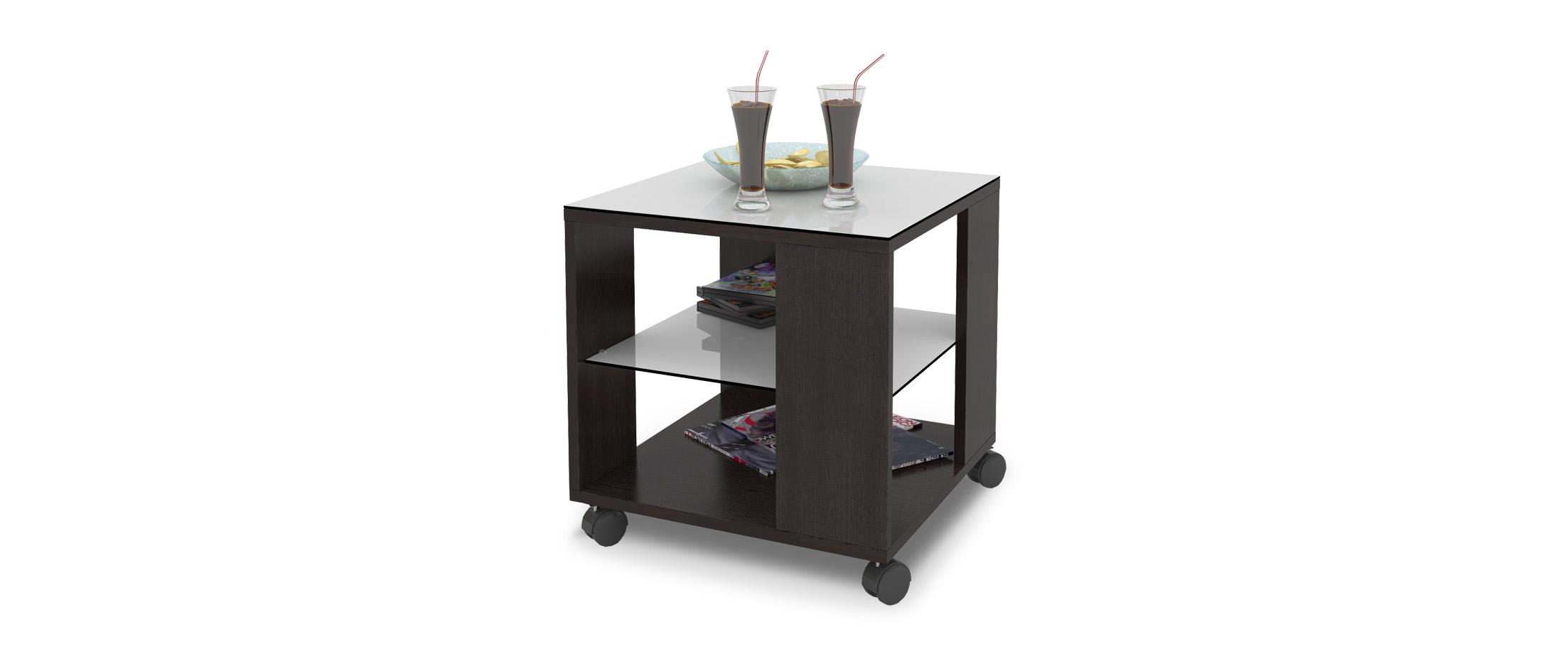 Журнальный стол Mayer 2 Модель 341Стильный четырёхколёсный стол легко передвигается по любому покрытию. Столешница из закалённого стекла, плюс две дополнительные полочки. Гарантия 18 месяцев.<br><br>Ширина см: 45<br>Глубина см: 45<br>Высота см: 57<br>Цвет: Венге<br>Материал столешницы: Стекло<br>Материал корпуса: ДСП