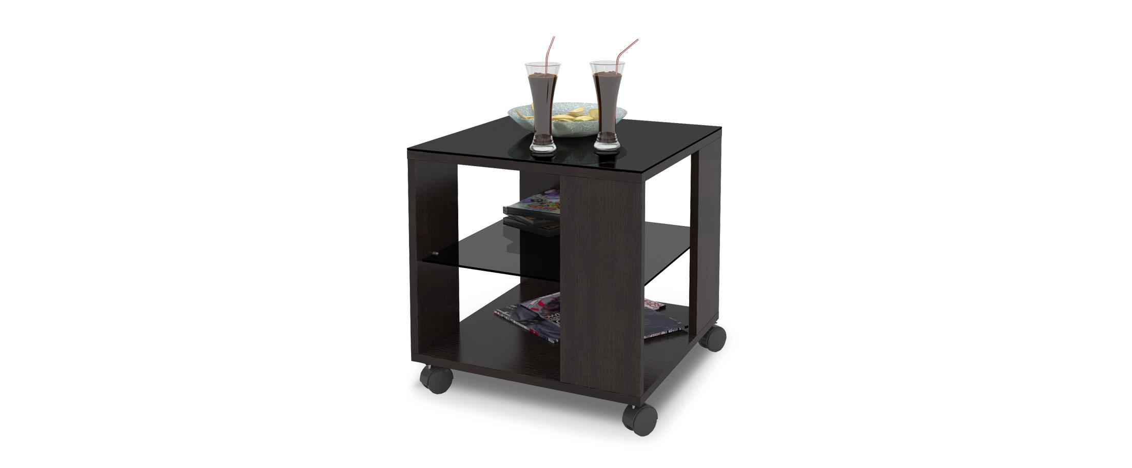 Журнальный стол Mayer 2 Модель 341Стильный четырёхколёсный стол легко передвигается по любому покрытию. Столешница из закалённого стекла, плюс две дополнительные полочки. Гарантия 18 месяцев. Артикул: Д000049.<br><br>Ширина см: 45<br>Глубина см: 45<br>Высота см: 57<br>Цвет: Венге<br>Материал столешницы: Стекло<br>Материал корпуса: ДСП