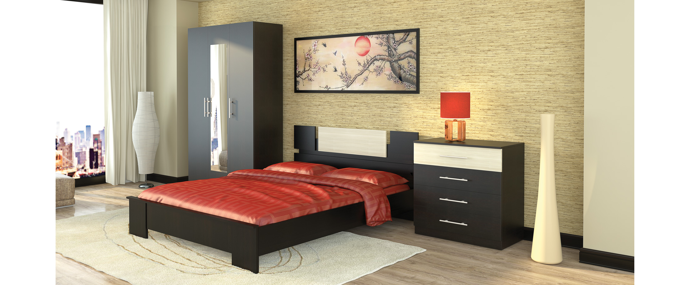 Спальня Оливия 1 Модель 337Кровать 172х205х70, тумба прикроватная 2 шт 40х35х36, шкаф 3-х дверный с зеркалом 120х60х218, комод 80х43х90. Цвет белый дуб. Гарантия 18 месяцев. Доставка от 1 дня.<br>