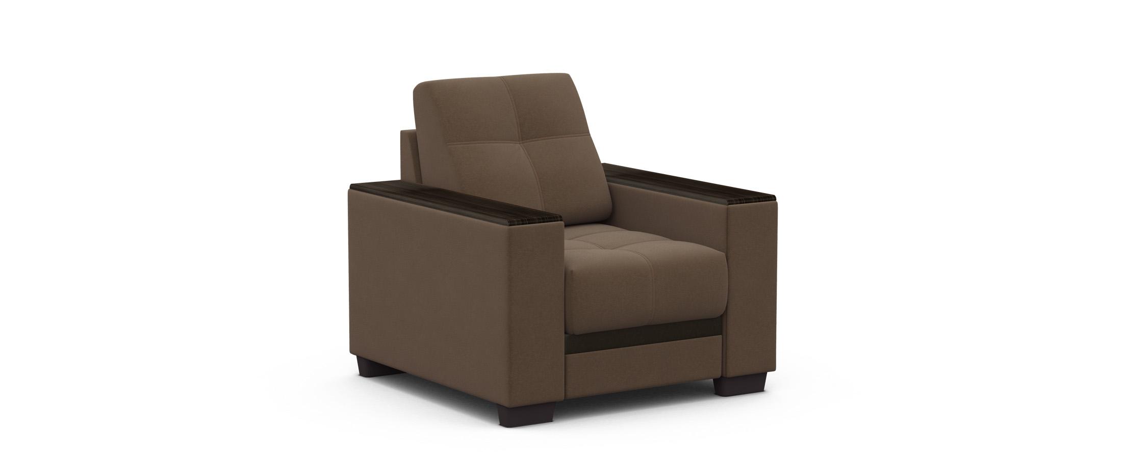 Кресло тканевое Атланта 066Купить коричневое кресло-кровать Атланта 066. Доставка от 1 дня. Подъём, сборка, вынос упаковки. Гарантия 18 месяцев. Интернет-магазин мебели MOON-TRADE.RU<br><br>Ширина см: 91<br>Глубина см: 98<br>Высота см: 90<br>Глубина посадочного места см: 60<br>Основание: Пружинные змейки<br>Механизм: Без механизма<br>Цвет декора: Венге<br>Цвет: Коричневый<br>Материал: Велюр, Экокожа<br>Мягкий настил: ППУ<br>Каркас: Массив дерева