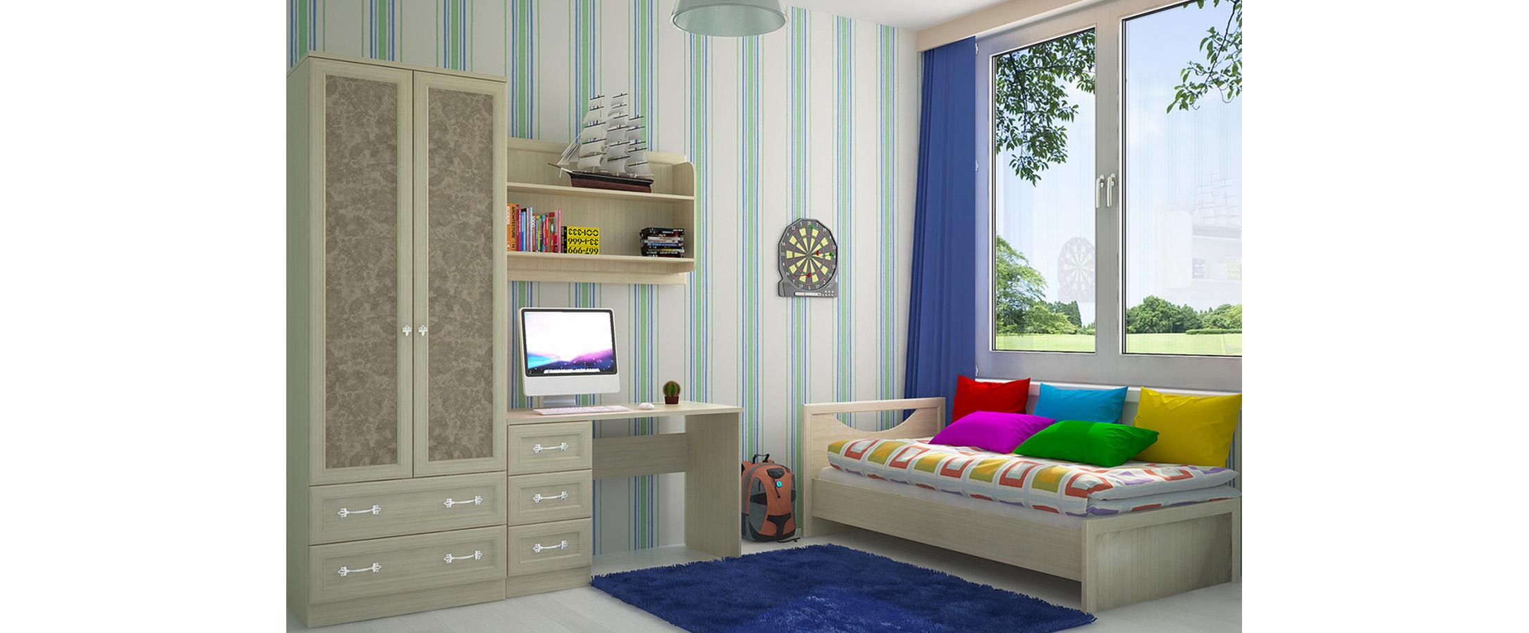 Детская светлая Дженни 2 Модель 349Купить удобный и практичный набор детской мебели в интернет магазине MOON TRADE. Спальное место 90х190 см. Быстрая доставка, вынос упаковки, гарантия! Выгодная покупка!<br>