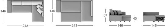 Габаритные размеры углового дивана MOON 102