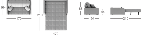 Габаритные размеры прямого дивана MOON 062