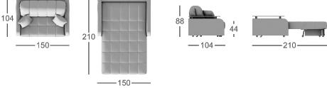 Габаритные размеры прямого дивана MOON 044
