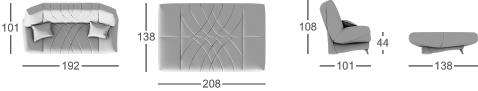 Габаритные размеры прямого дивана MOON 036