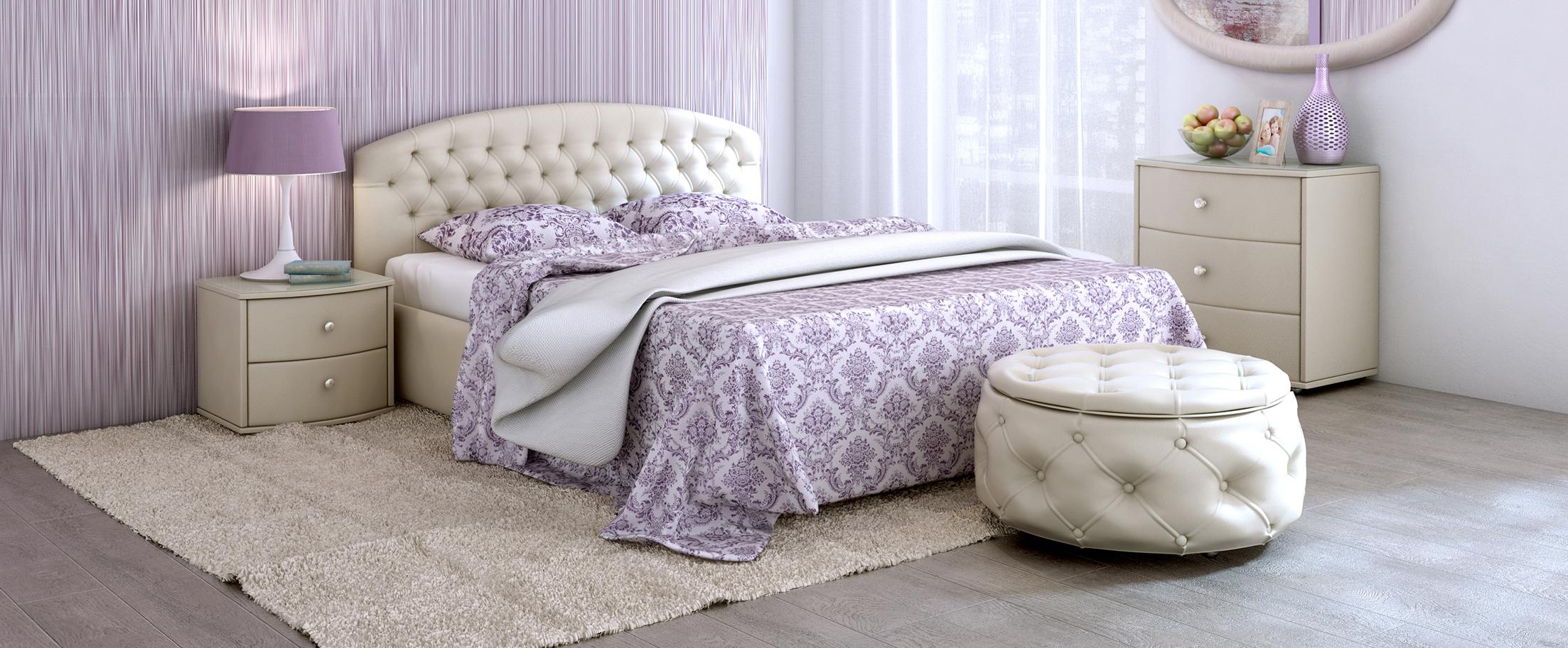 Кровать двуспальная Пальмира Модель 380Изящная модель со скруглённой спинкой. Благодаря лаконичности форм и прекрасным цветовым решениям эта кровать cделает любой интерьер легким и элегантным.<br>