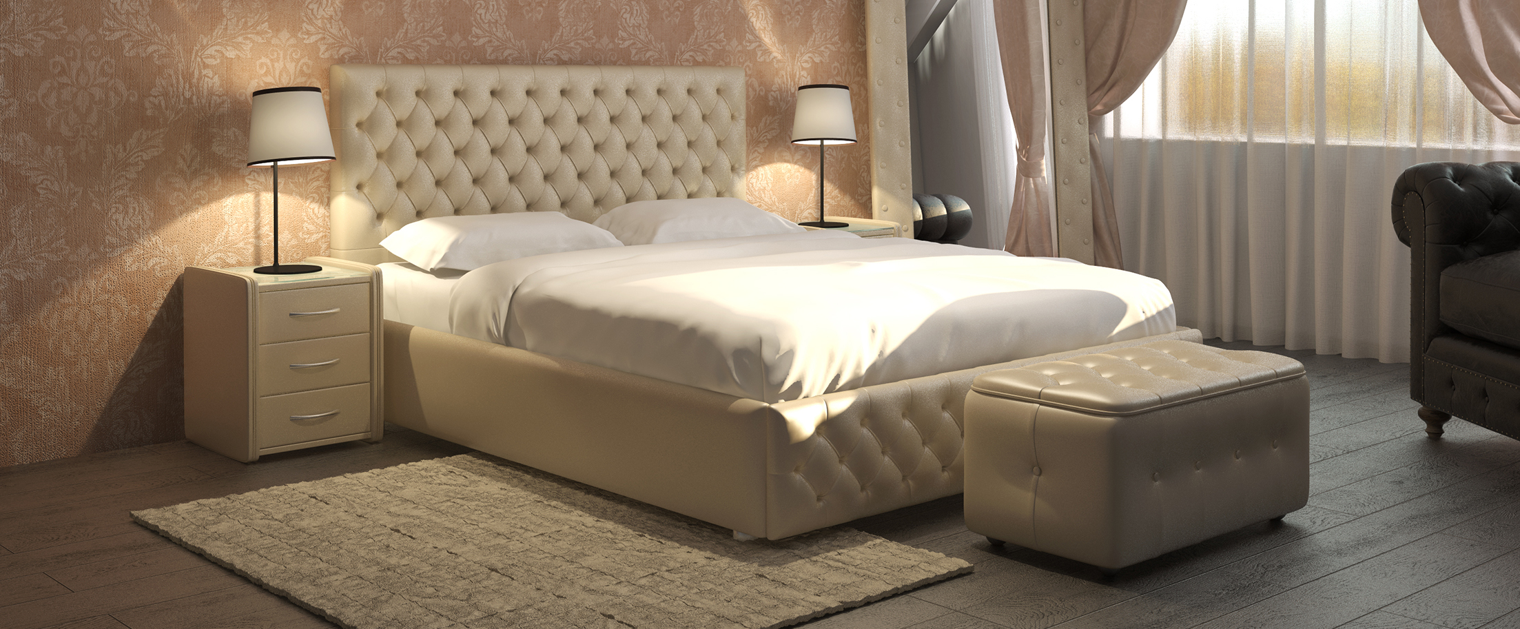Кровать двуспальная Купол Тысячелетия Модель 385Роскошная кровать с глубокими утяжками на спинке и передней царге сочетает в себе романтику и комфорт, нежность и уверенную в себе красоту. Создаст неповторимую атмосферу уюта и спокойствия в Вашей спальне.<br><br>Ширина см: 155<br>Глубина см: 218<br>Высота см: 110<br>Ширина спального места см: 140<br>Длина спального места см: 200<br>Встроенное основание: Есть<br>Материал каркаса: ДСП<br>Материал обивки: Экокожа<br>Подъемный механизм: Нет<br>Цвет: Бежевый<br>Код ткани: Рожь<br>Бренд: Другие
