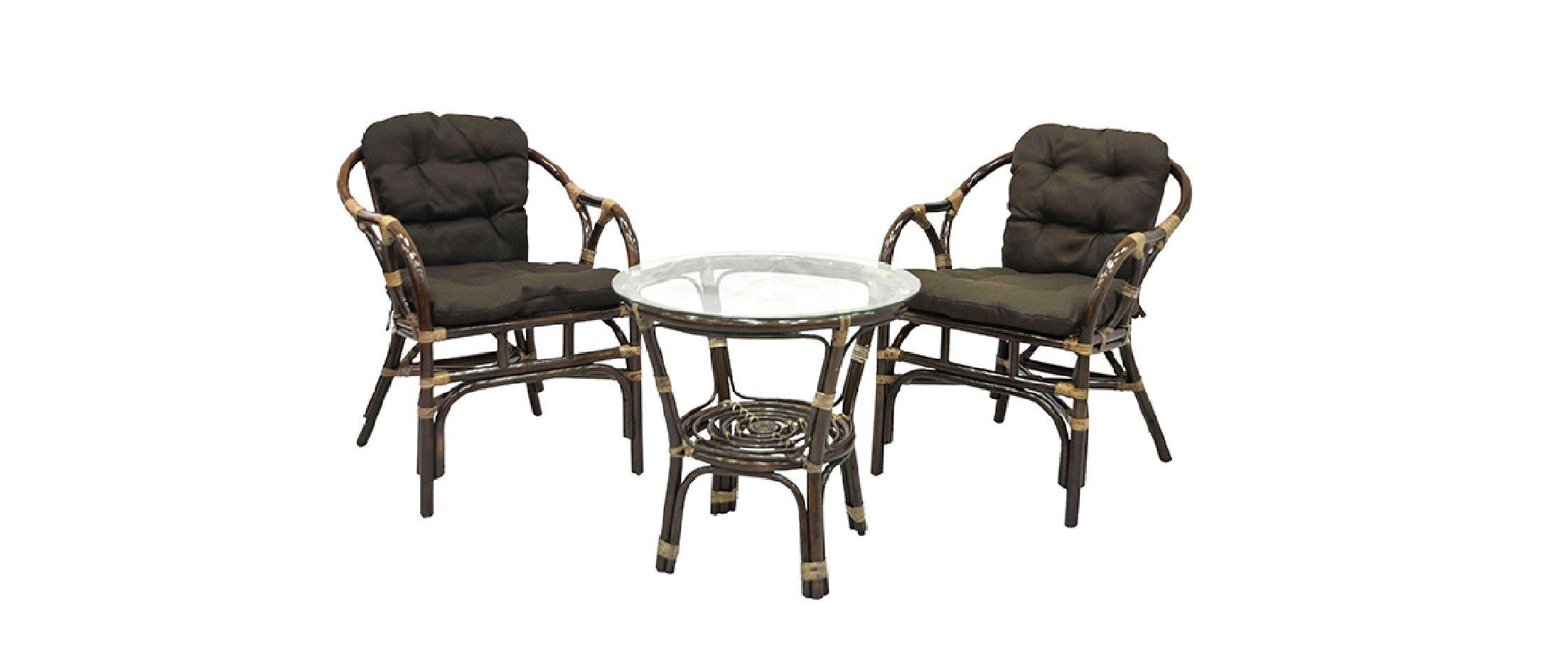 Комплект кофейный «Terrace Set»Комплект кофейный Terrace Set<br><br>Ширина см: 55<br>Глубина см: 58<br>Высота см: 75<br>Цвет корпуса: Браун<br>Материал корпуса: Натуральный ротанг