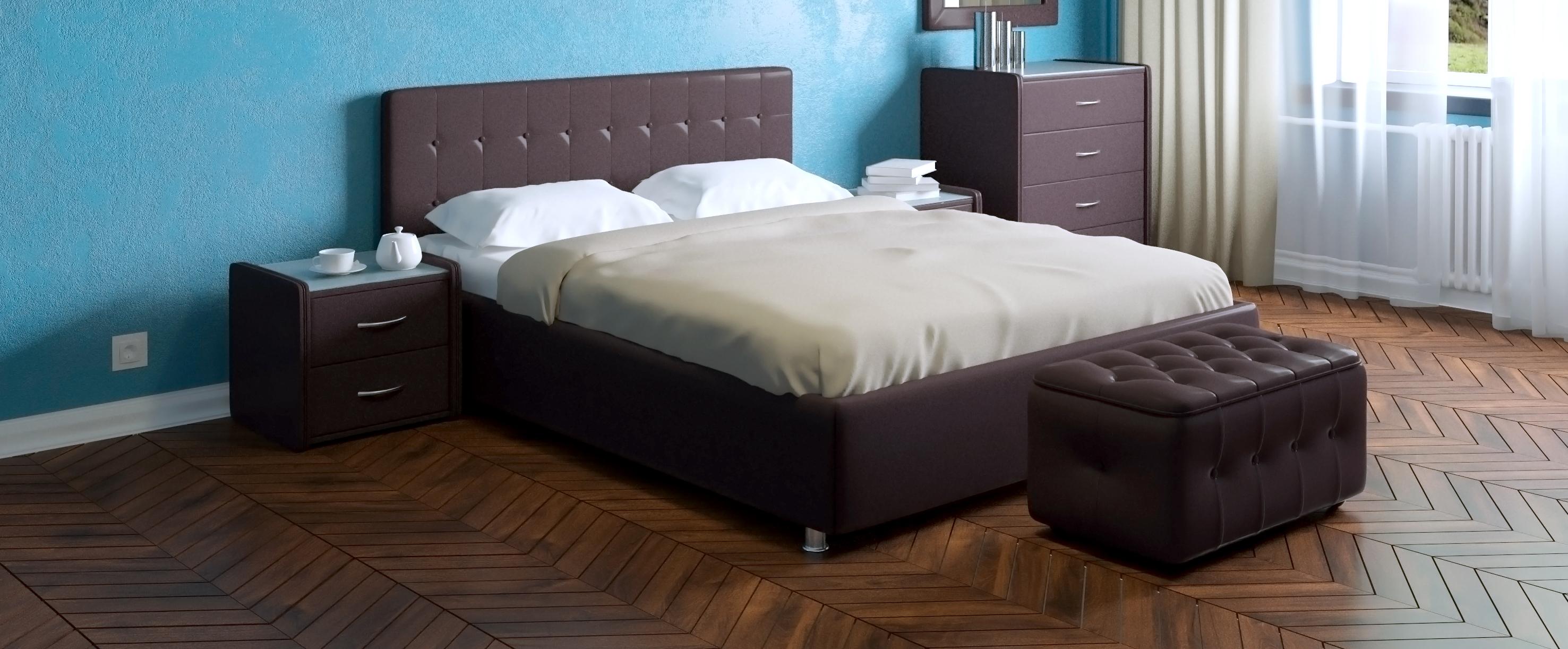 Кровать двуспальная Космопорт Модель 382Шикарная двуспальная кровать с универсальным дизайном. Подчеркнуть минималистичность или же наоборот романтическую роскошь интерьера комнаты можно с помощью спального комплекта соответствующей расцветки.<br><br>Ширина см: 176<br>Глубина см: 215<br>Высота см: 100<br>Ширина спального места см: 160<br>Глубина спального места см: 200<br>Подъемный механизм: Есть<br>Материал каркаса: ДСП<br>Материал обивки: Экокожа<br>Цвет: Коричневый<br>Код ткани: Кофе