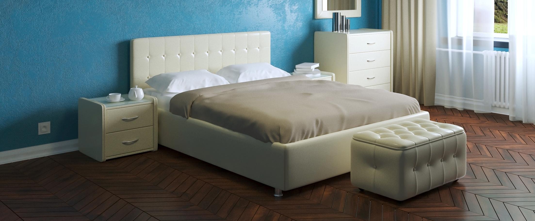 Кровать двуспальная Космопорт Модель 382Шикарная двуспальная кровать с универсальным дизайном. Подчеркнуть минималистичность или же наоборот романтическую роскошь интерьера комнаты можно с помощью спального комплекта соответствующей расцветки.