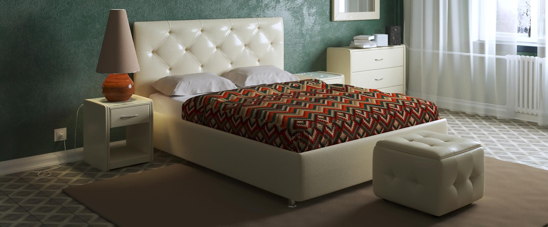 Кровать двуспальная Монблан Модель 383«Монблан» станет центром внимания в спальне. Утяжки средней глубины кропотливо собраны вручную и подчеркнуты пуговицами.<br><br>Ширина см: 155<br>Глубина см: 212<br>Высота см: 110<br>Ширина спального места см: 140<br>Глубина спального места см: 200<br>Встроенное основание: Есть<br>Материал каркаса: ДСП<br>Материал обивки: Экокожа<br>Подъемный механизм: Нет<br>Цвет: Бежевый<br>Код ткани: Суфле