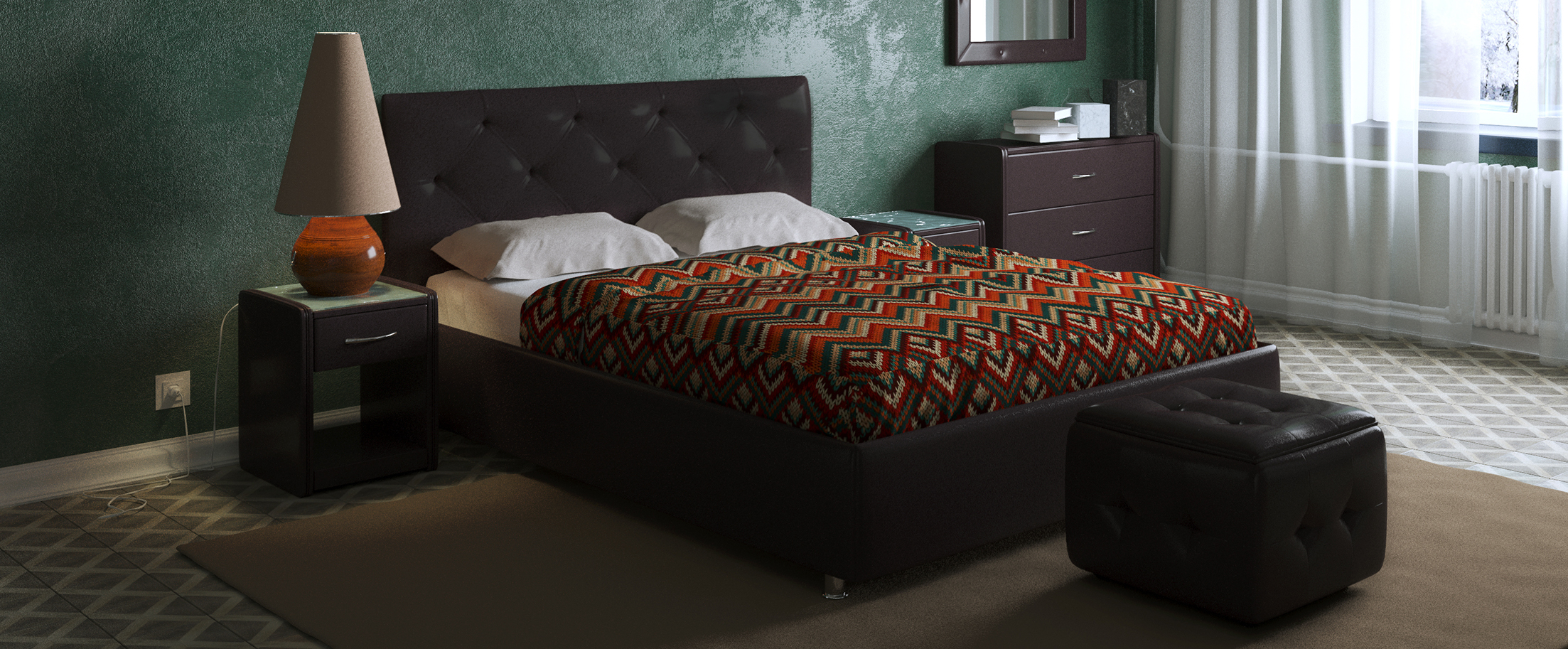 Кровать двуспальная Монблан Модель 383«Монблан» станет центром внимания в спальне. Утяжки средней глубины кропотливо собраны вручную и подчеркнуты пуговицами.<br><br>Ширина см: 195<br>Глубина см: 212<br>Высота см: 110<br>Ширина спального места см: 180<br>Длина спального места см: 200<br>Встроенное основание: Есть<br>Материал каркаса: ДСП<br>Материал обивки: Экокожа<br>Подъемный механизм: Нет<br>Цвет: Коричневый<br>Код ткани: Кофе<br>Бренд: Другие