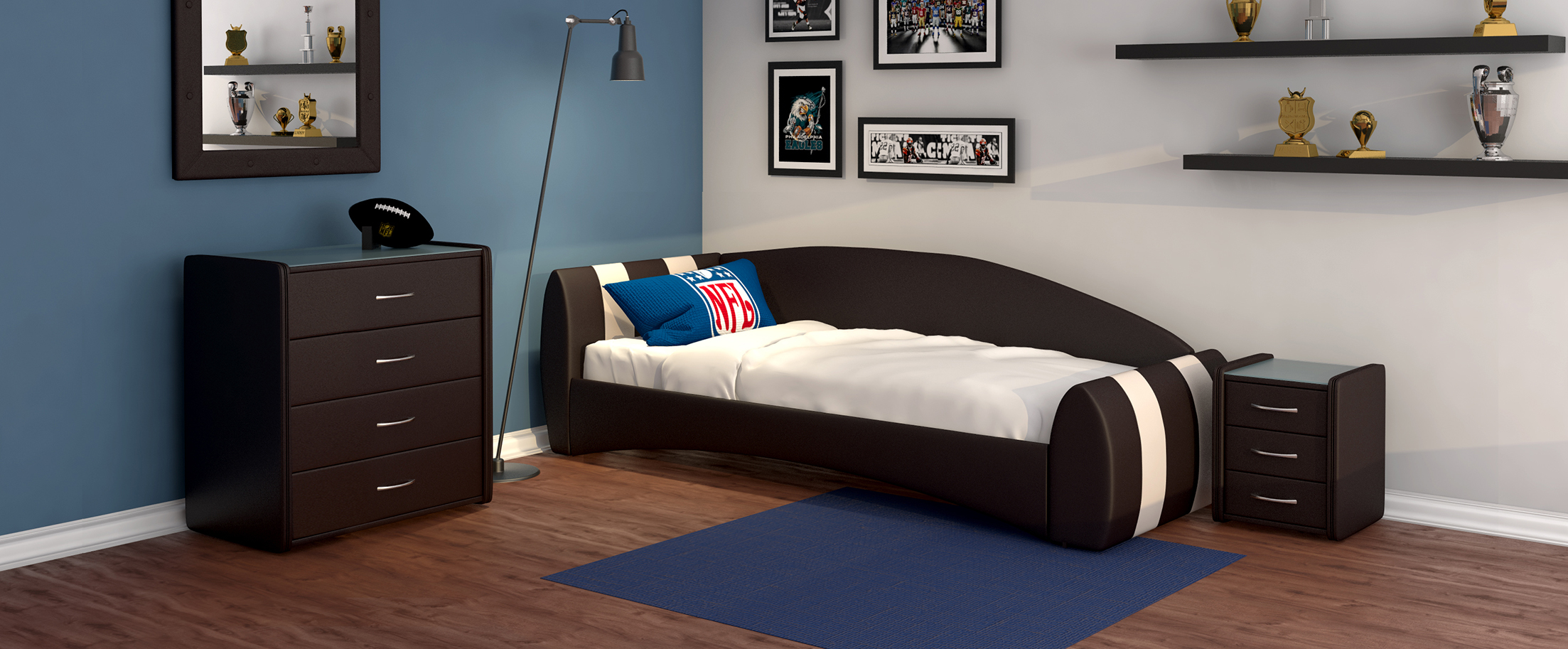 Кровать односпальная Кальвет (левая) Модель 387Односпальная модель с современным дизайном отлично впишется в интерьер подростковой комнаты. Расположение спинки возможно как левое, так и правое.