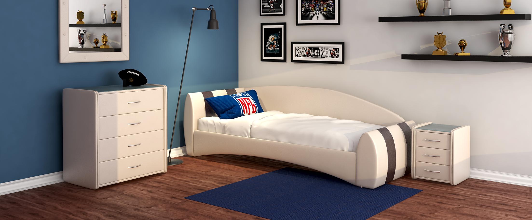 Кровать односпальная Кальвет (левая) Модель 387