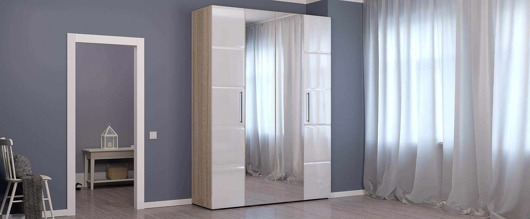 Шкаф для одежды 4-х дверный София Модель 512Шкаф для одежды 4-х дверный София Модель 512 артикул Ш000023<br>