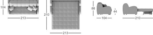 Габаритные размеры прямого дивана MOON 022