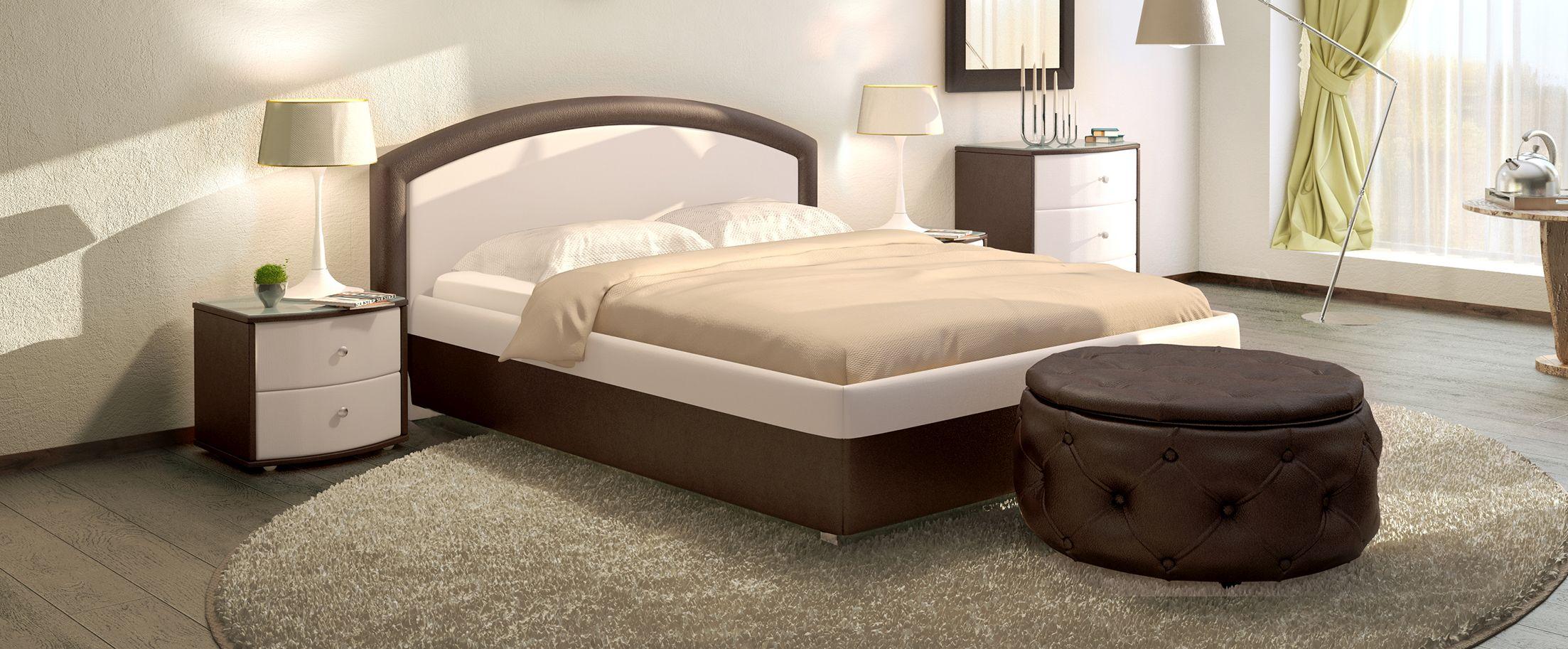 Кровать двуспальная Мирабель Модель 379Восхитительная кровать Мирабель – это истинное воплощение величественной элегантности. Сочетание контрастных обивочных материалов позволяет идеально вписать кровать в любой интерьер.<br><br>Ширина см: 189<br>Глубина см: 211<br>Высота см: 100<br>Ширина спального места см: 160<br>Глубина спального места см: 200<br>Встроенное основание: Есть<br>Материал каркаса: ДСП<br>Материал обивки: Экокожа<br>Подъемный механизм: Нет<br>Цвет: Белый, Коричневый<br>Код ткани: Молоко, Кофе