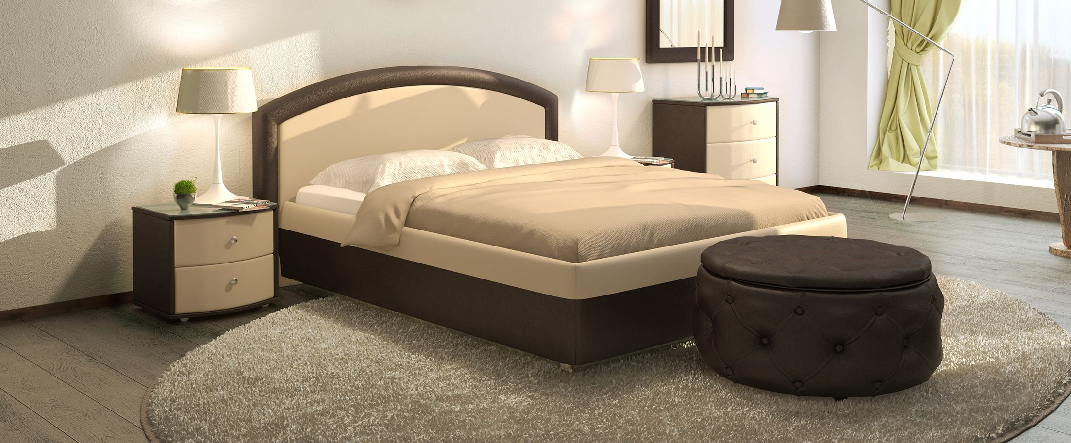 Кровать двуспальная Мирабель Модель 379Восхитительная кровать Мирабель – это истинное воплощение величественной элегантности. Сочетание контрастных обивочных материалов позволяет идеально вписать кровать в любой интерьер.<br><br>Ширина см: 169<br>Глубина см: 211<br>Высота см: 100<br>Ширина спального места см: 140<br>Глубина спального места см: 200<br>Подъемный механизм: Есть<br>Материал каркаса: ДСП<br>Материал обивки: Экокожа<br>Цвет: Бежевый, Коричневый<br>Код ткани: Рожь, Кофе