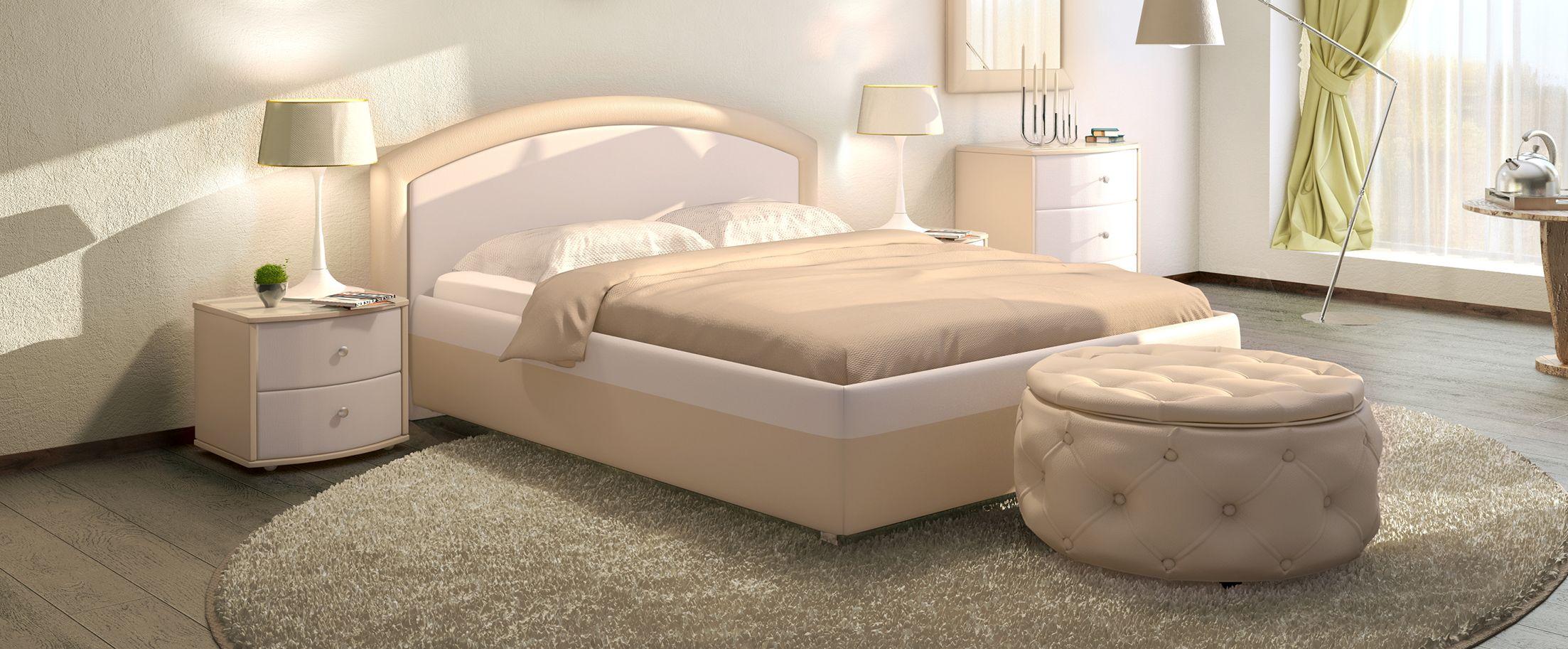 Кровать двуспальная Мирабель Модель 379Восхитительная кровать Мирабель – это истинное воплощение величественной элегантности. Сочетание контрастных обивочных материалов позволяет идеально вписать кровать в любой интерьер.