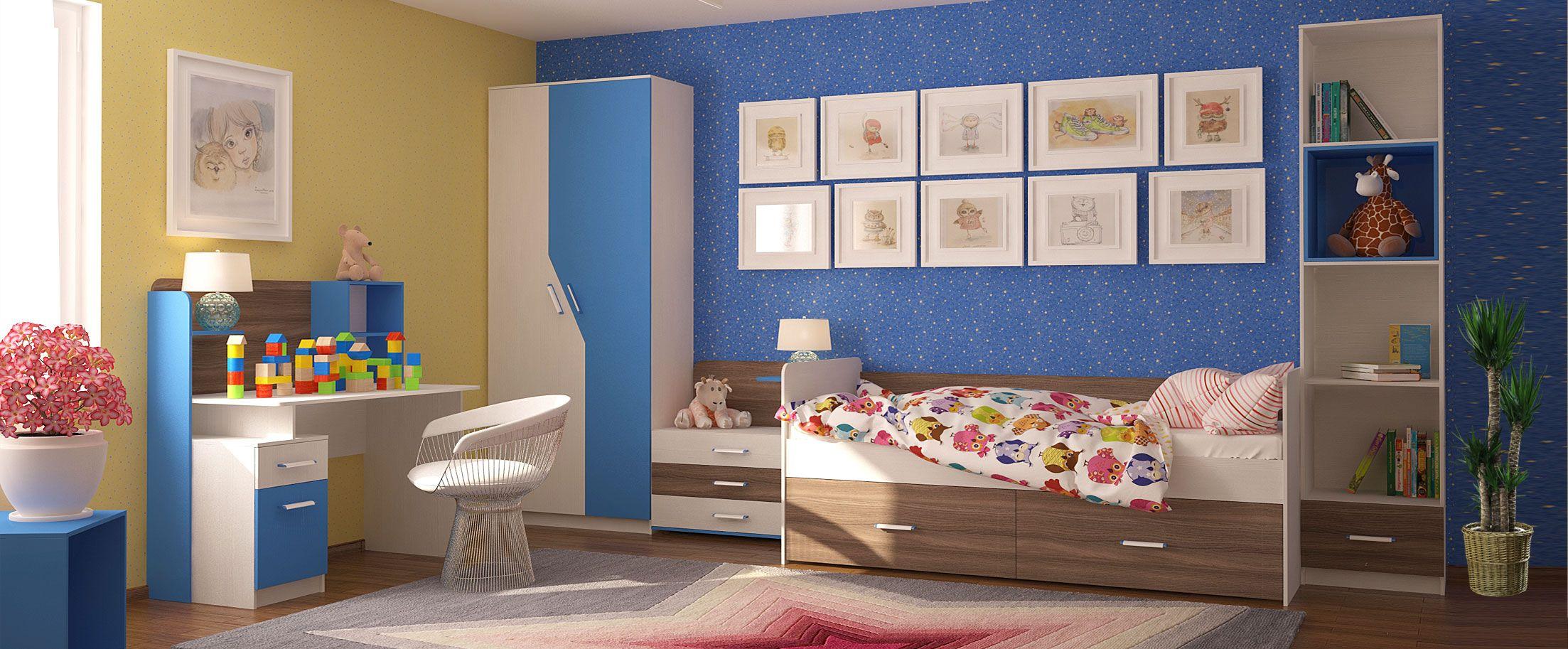 Детская синего цвета Скейт-5Купить набор уютной и комфортной детской мебели в интернет магазине MOON TRADE. Спальное место 80х190 см. Быстрая доставка, вынос упаковки, гарантия! Выгодная покупка!<br>