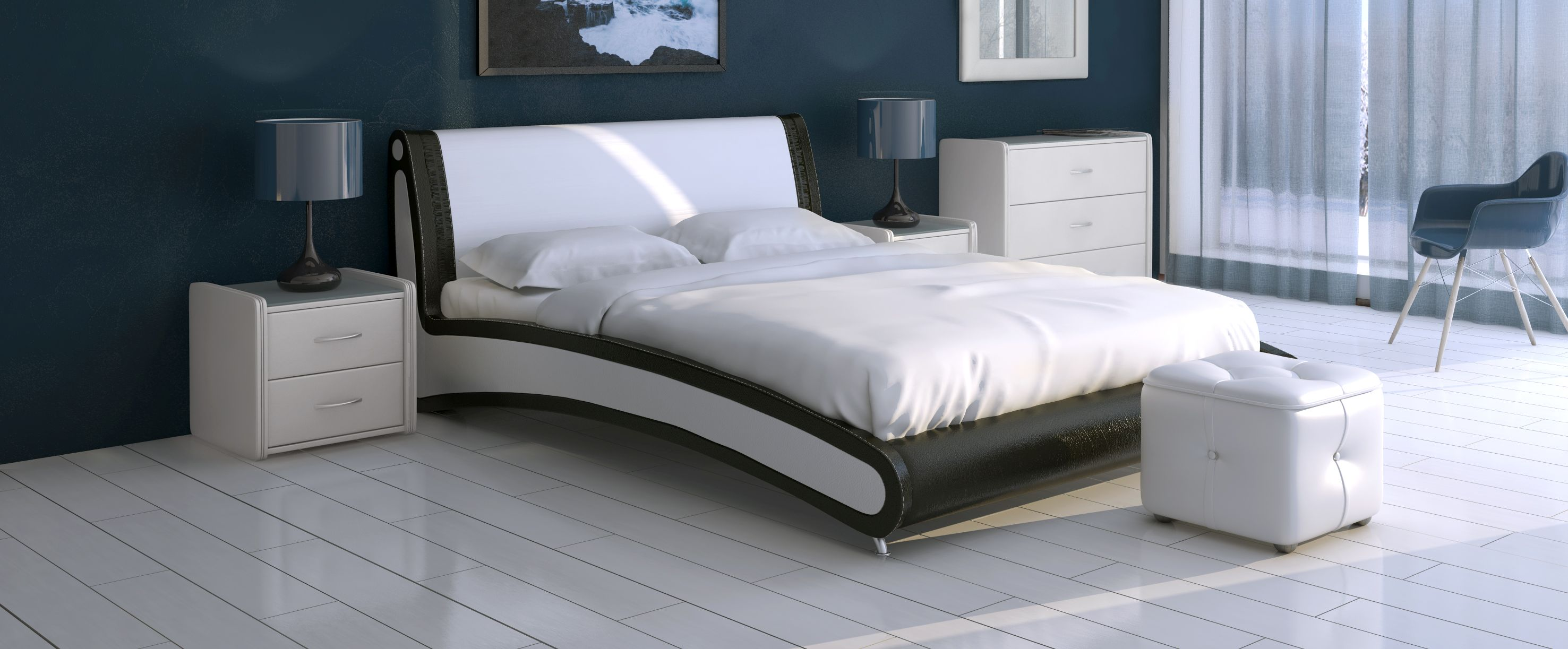 Кровать двуспальная Помпиду Модель 394Стильная двухцветная кровать необычной формы, несомненно, станет центром внимания вашей спальни. Задняя часть спинки выполнена из экокожи.<br><br>Ширина см: 173<br>Глубина см: 236<br>Высота см: 91<br>Ширина спального места см: 160<br>Глубина спального места см: 200<br>Встроенное основание: Есть<br>Материал каркаса: ДСП<br>Материал обивки: Экокожа<br>Подъемный механизм: Нет<br>Цвет: Коричневый, Белый<br>Код ткани: Пралине, Марципан