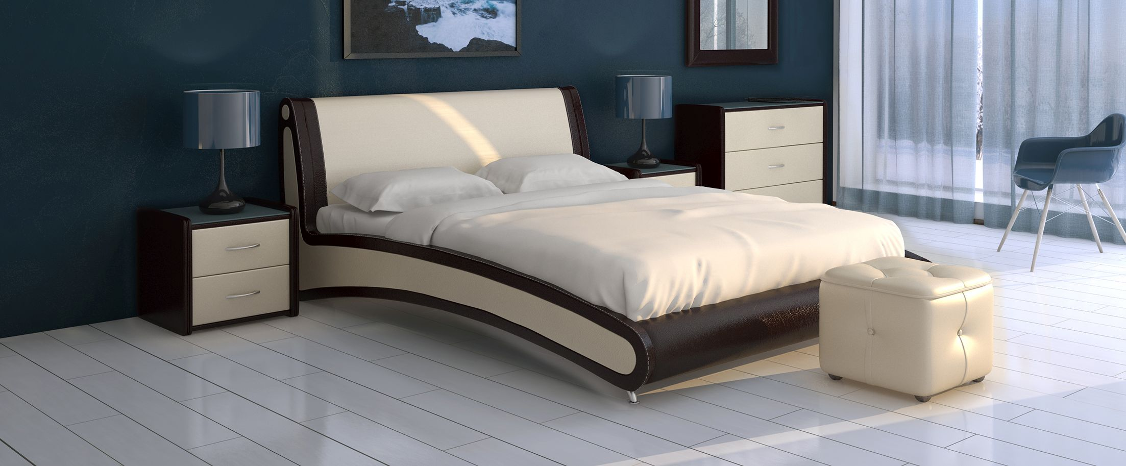 Кровать двуспальная Помпиду Модель 394Стильная двухцветная кровать необычной формы, несомненно, станет центром внимания вашей спальни. Задняя часть спинки выполнена из экокожи.<br>