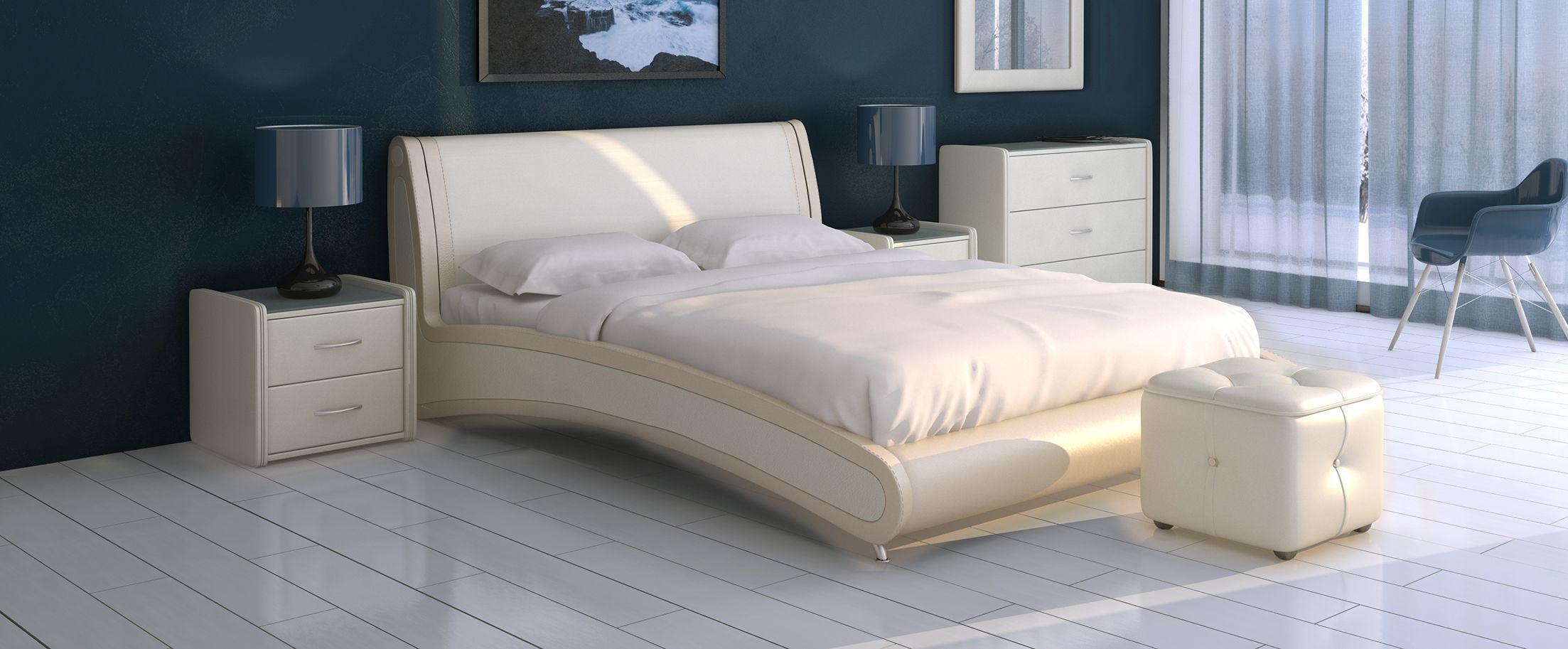 Кровать двуспальная Помпиду Модель 394Стильная двухцветная кровать необычной формы, несомненно, станет центром внимания вашей спальни. Задняя часть спинки выполнена из экокожи.
