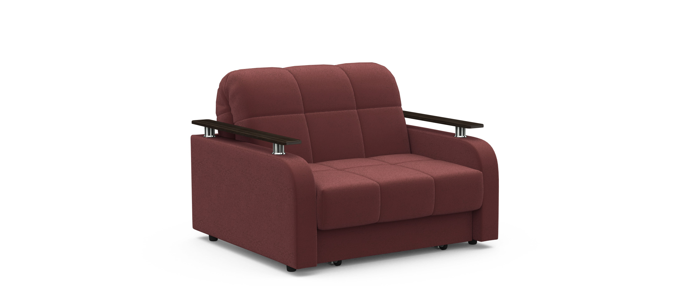 Кресло раскладное Карина 044Купить бордовое кресло-кровать Карина 044. Доставка от 1 дня. Подъём, сборка, вынос упаковки. Гарантия 18 месяцев. Интернет-магазин мебели MOON TRADE.<br><br>Ширина см: 110<br>Глубина см: 104<br>Высота см: 88<br>Ширина спального места см: 88<br>Длина спального места см: 204<br>Глубина посадочного места см: 58<br>Высота спального места см: 44<br>Основание: Берёзовые латы<br>Механизм: Аккордеон<br>Цвет декора: Венге<br>Жёсткость: Жёсткий<br>Чехол: Съёмный<br>Код ткани: 74-6<br>Цвет: Бордовый<br>Материал: Велюр<br>Мягкий настил: ППУ<br>Каркас: Металлокаркас<br>Модель: Карина