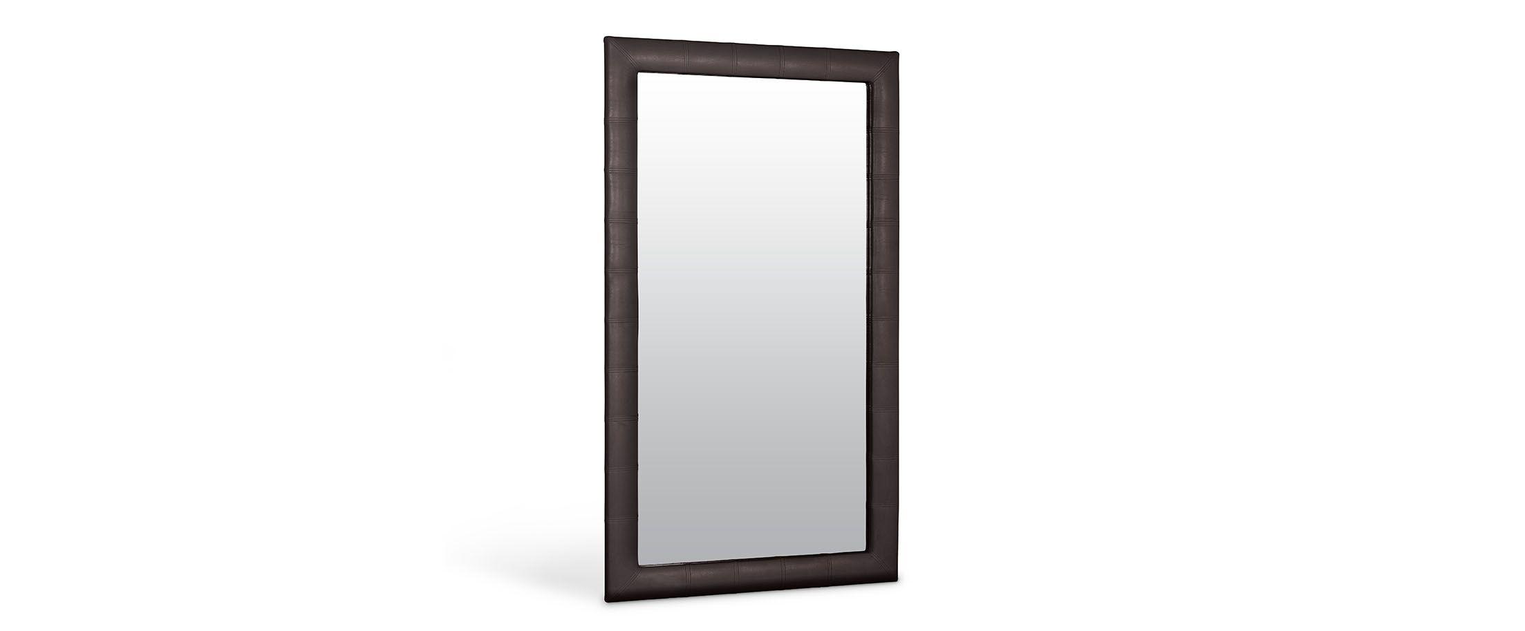 Зеркало Кааба большое кофеЗеркало навесное в спальню. Обивка из экокожи. Артикул: К000448<br>