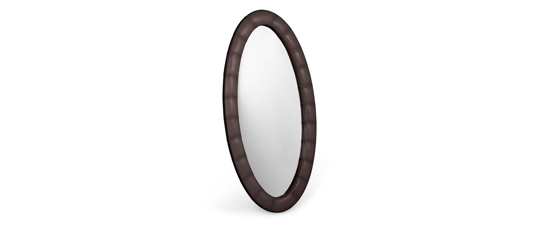 Зеркало Люнетта кофеЗеркало навесное в спальню. Обивка из экокожи. Артикул: К000453<br>