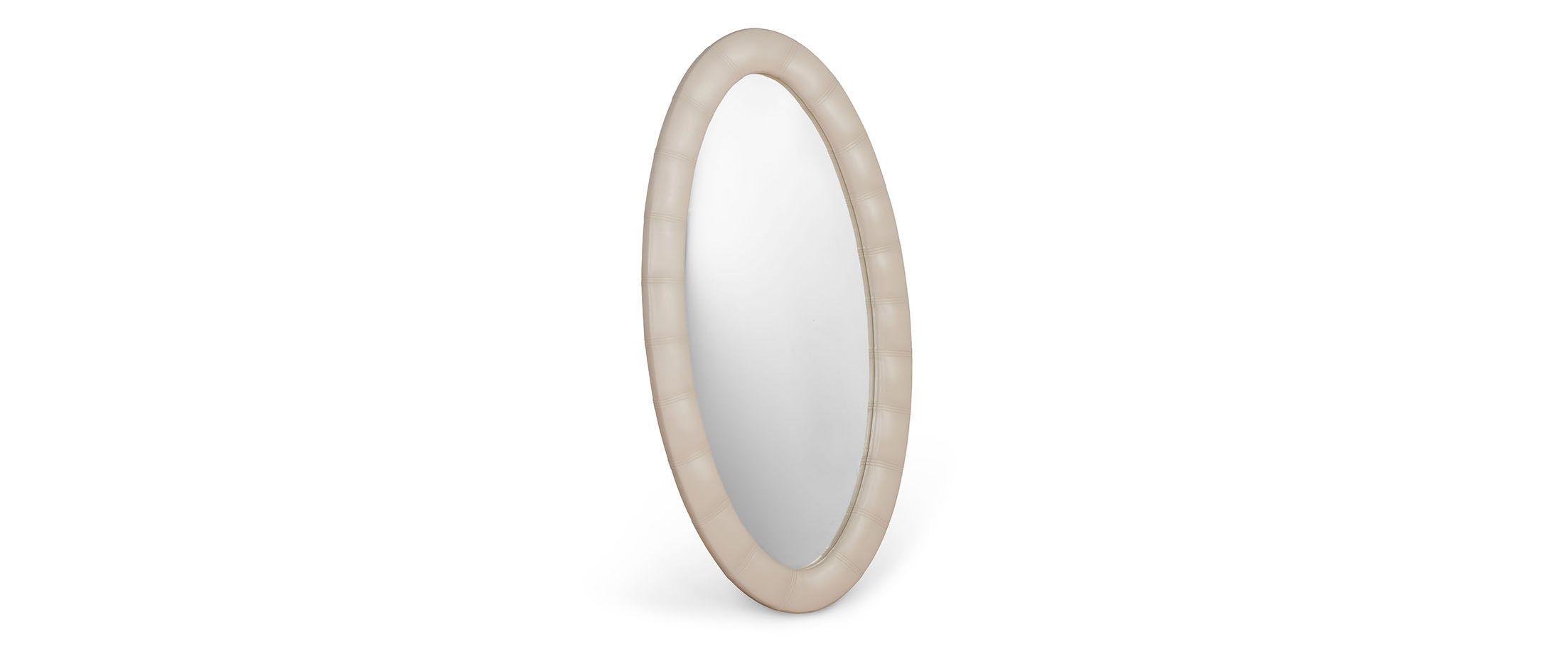 Зеркало Люнетта суфлеЗеркало навесное в спальню. Обивка из экокожи. Артикул: К000452<br><br>Ширина см: 75<br>Глубина см: 4<br>Высота см: 136<br>Цвет: Бежевый