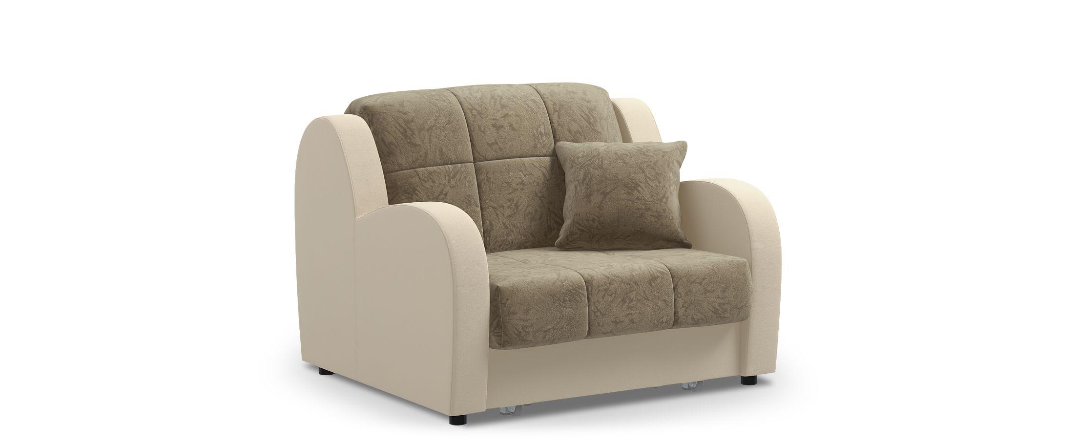 Кресло раскладное Барон 022Купить бежевое кресло-кровать Барон 022. Доставка от 1 дня. Подъём, сборка, вынос упаковки. Гарантия 18 месяцев. Интернет-магазин мебели MOON TRADE. Артикул: 001411<br><br>Ширина см: 113<br>Глубина см: 104<br>Высота см: 88<br>Ширина спального места см: 88<br>Длина спального места см: 204<br>Глубина посадочного места см: 60<br>Механизм: Аккордеон<br>Код ткани: 67-36, 36-132<br>Цвет: Бежевый<br>Материал: Велюр, Экокожа<br>Каркас: Металлокаркас<br>Основание: Берёзовые латы<br>Мягкий настил: ППУ<br>Жёсткость: Жёсткий<br>Чехол: Съёмный
