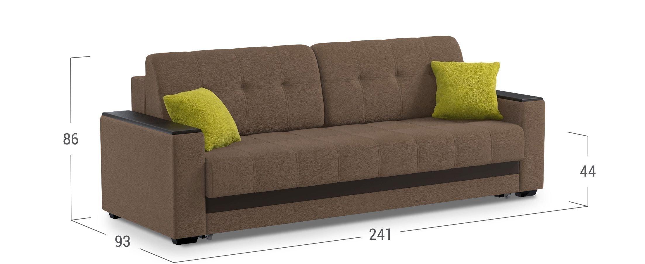диван прямой еврокнижка атланта коричневый купить в москве в