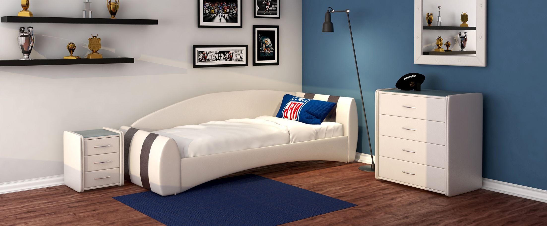 Кровать односпальная Кальвет (правая) Модель 386Односпальная модель с современным дизайном отлично впишется в интерьер подростковой комнаты. Расположение спинки возможно как левое, так и правое.<br><br>Ширина см: 99<br>Глубина см: 250<br>Высота см: 81<br>Ширина спального места см: 90<br>Глубина спального места см: 190<br>Встроенное основание: Есть<br>Материал каркаса: ДСП<br>Материал обивки: Экокожа<br>Подъемный механизм: Нет<br>Цвет: Коричневый, Белый<br>Код ткани: Пралине, Марципан
