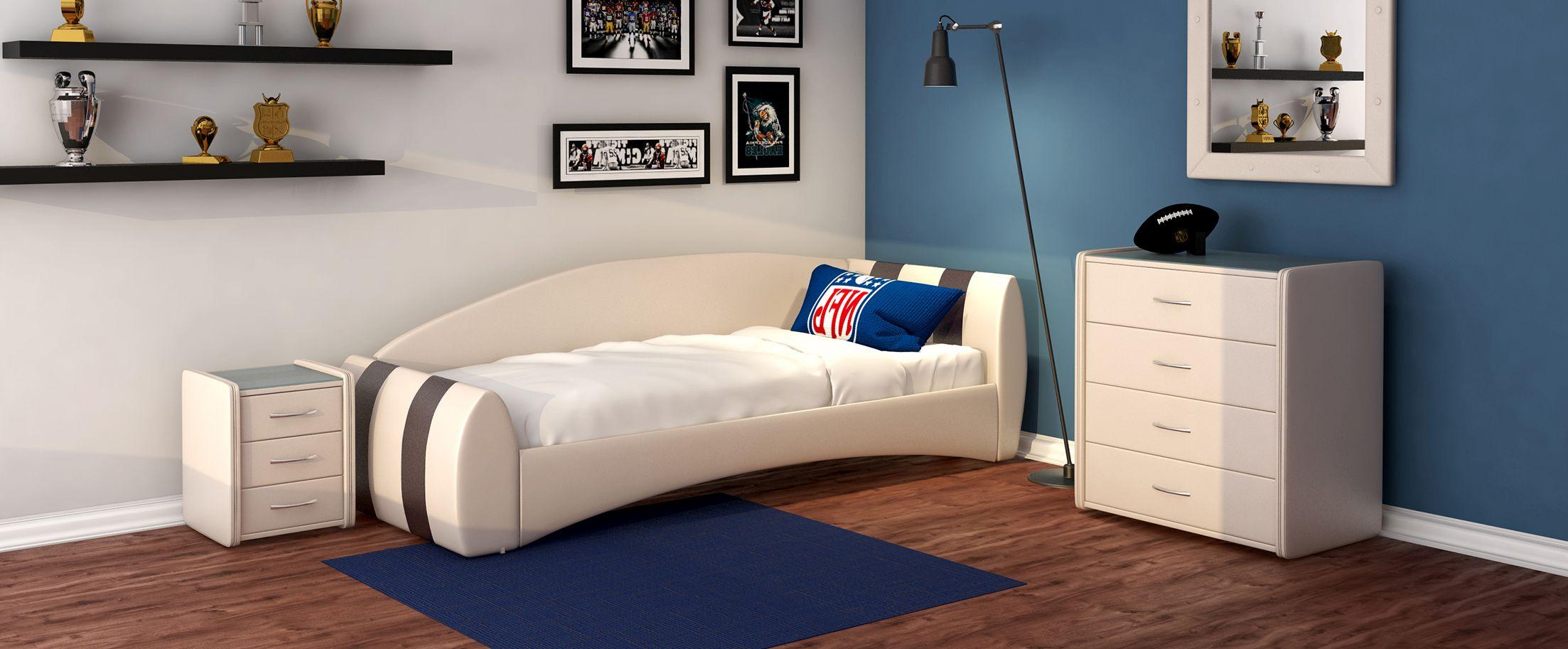 Кровать односпальная Кальвет (правая) Модель 386Односпальная модель с современным дизайном отлично впишется в интерьер подростковой комнаты. Расположение спинки возможно как левое, так и правое.<br><br>Ширина см: 99<br>Глубина см: 250<br>Высота см: 81<br>Ширина спального места см: 90<br>Глубина спального места см: 190<br>Встроенное основание: Есть<br>Материал каркаса: ДСП<br>Материал обивки: Экокожа<br>Подъемный механизм: Нет<br>Цвет: Бежевый, Коричневый<br>Код ткани: Суфле, Пралине
