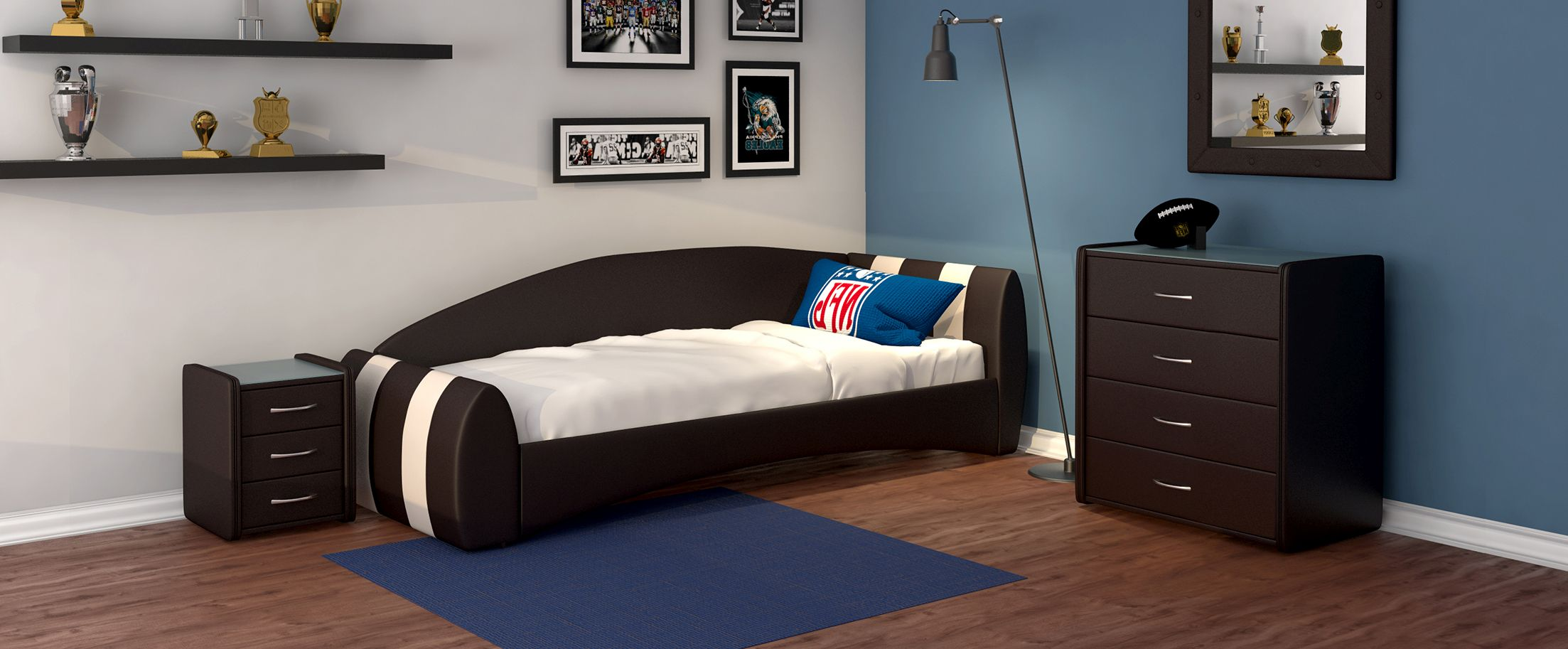 Кровать односпальная Кальвет (правая) Модель 386Односпальная модель с современным дизайном отлично впишется в интерьер подростковой комнаты. Расположение спинки возможно как левое, так и правое.<br><br>Ширина см: 99<br>Глубина см: 250<br>Высота см: 81<br>Ширина спального места см: 90<br>Глубина спального места см: 190<br>Встроенное основание: Есть<br>Материал каркаса: ДСП<br>Материал обивки: Экокожа<br>Подъемный механизм: Нет<br>Цвет: Бежевый, Коричневый<br>Код ткани: Рожь, Кофе