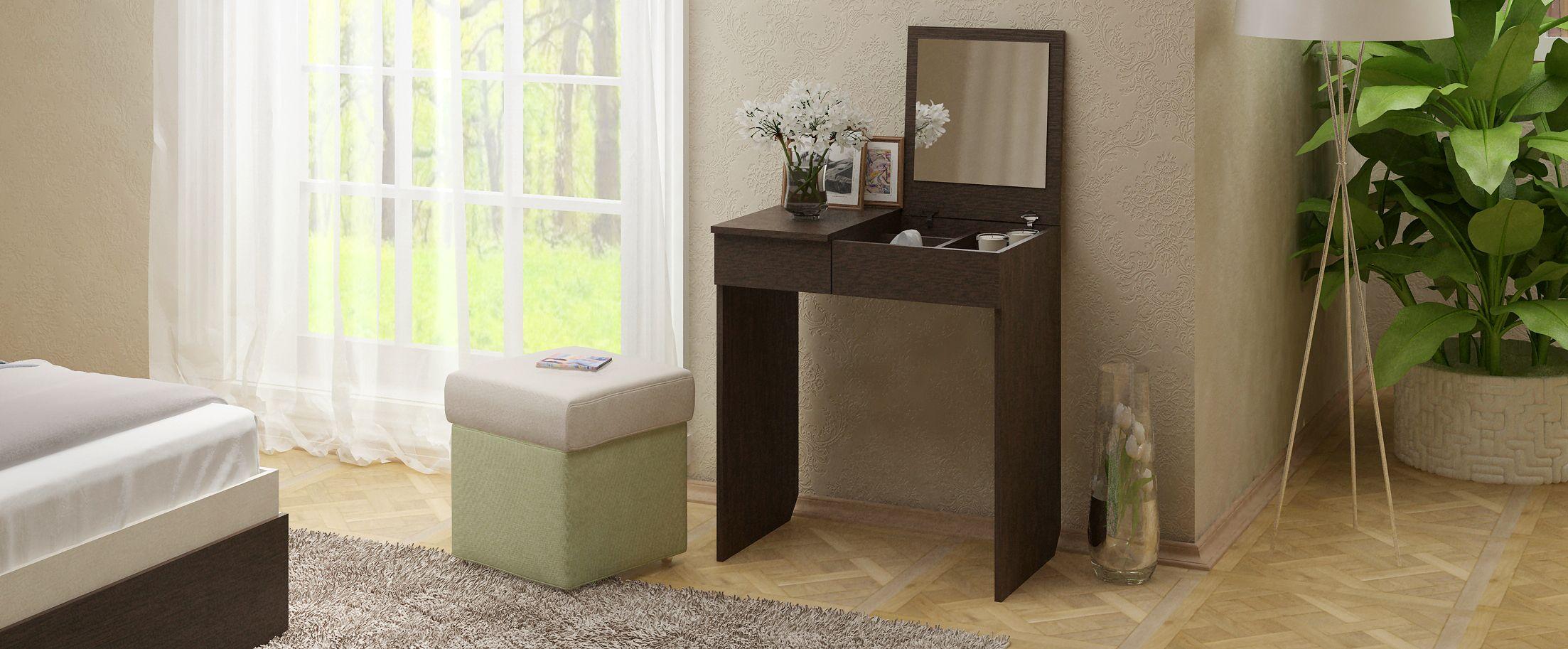 Туалетный столик Риано 1 Модель 800Туалетные столики «Риано» — изящное и стильное решение для современной спальни и других помещений.<br><br>Ширина см: 71<br>Глубина см: 47<br>Высота см: 78<br>Материал фасада: ЛДСП<br>Материал корпуса: ЛДСП<br>Цвет: Венге