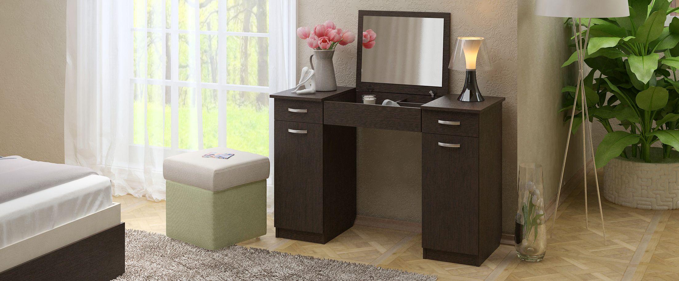 Туалетный столик Риано 5 Модель 803Туалетные столики «Риано» — изящное и стильное решение для современной спальни и других помещений.<br><br>Ширина см: 110<br>Глубина см: 47<br>Высота см: 78<br>Материал фасада: ЛДСП<br>Материал корпуса: ЛДСП<br>Цвет: Венге