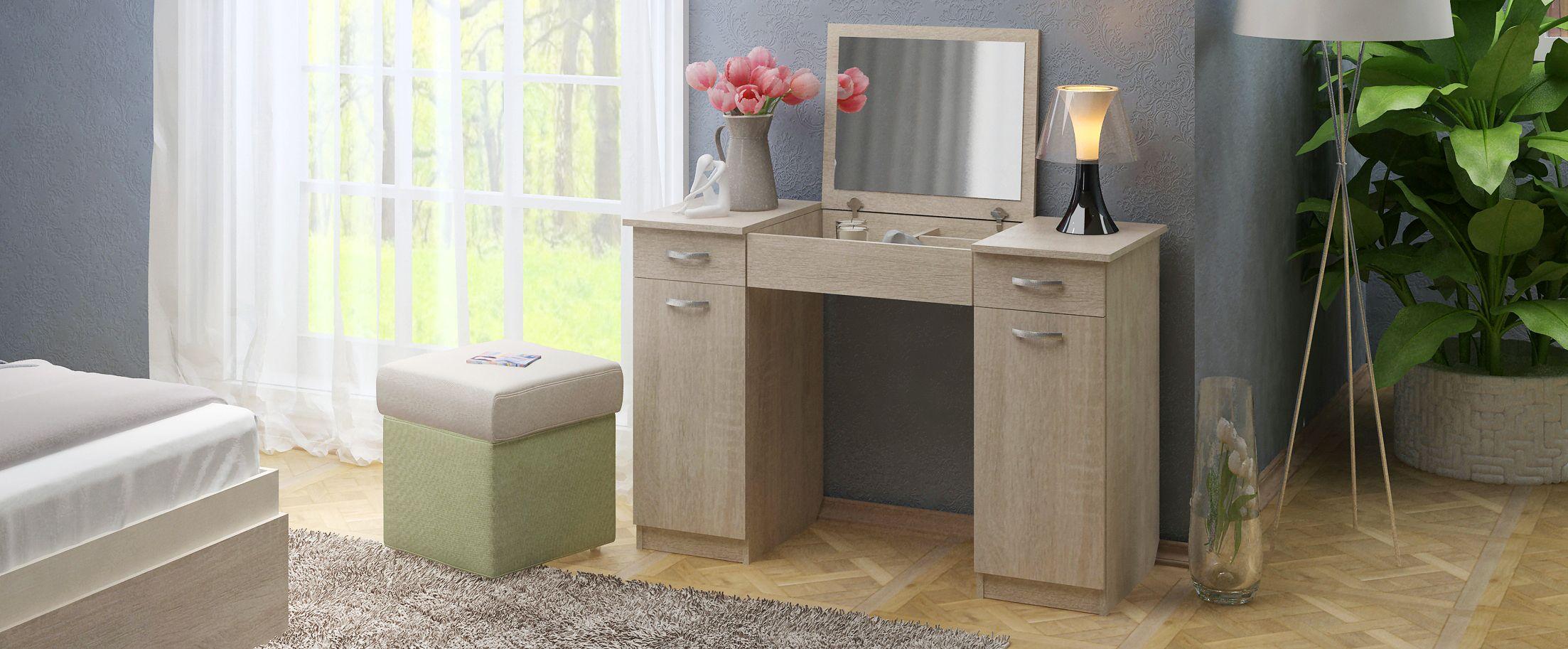 Туалетный столик Риано 5 Модель 803Туалетные столики «Риано» — изящное и стильное решение для современной спальни и других помещений.<br><br>Ширина см: 110<br>Глубина см: 47<br>Высота см: 78<br>Материал фасада: ЛДСП<br>Материал корпуса: ЛДСП<br>Цвет: Дуб сонома