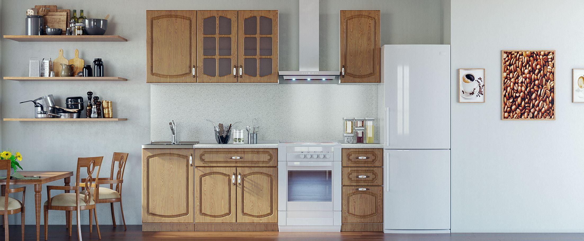 Кухня Дуб натуральный 1,7 мКупить удобный и практичный набор кухонного гарнитура в интернет магазине MOON TRADE. Быстрая доставка, вынос упаковки, гарантия! Выгодная покупка!<br>